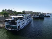 Passenger ships on the Nile near Luxor Royalty Free Stock Images