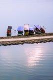 Passenger ships Sangkhlaburi wooden bridge - Stock Image Royalty Free Stock Photo