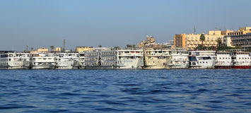 Passenger ships standing in port on Nile Royalty Free Stock Images