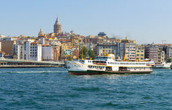 Passenger ships in the Strait of Bosporus Istanbul Turkey a clear day Royalty Free Stock Image