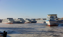 Passenger ships are wintering in the bay. Khlebnikov, ship-repair factory Stock Photos