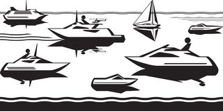Passenger ships and yachts in the sea. Vector illustration royalty free illustration