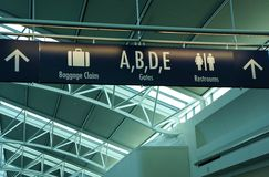 Passenger signage in airport terminal. Baggage claim, gates, and restroom directions and signage in Portland International Airport, Portland, Oregon Stock Image