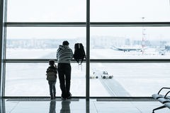Passenger silhouette in the airport Royalty Free Stock Photos