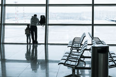 Passenger silhouette in the airport Stock Photo
