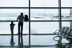 Passenger silhouette in the airport Royalty Free Stock Image