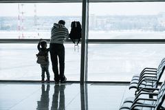 Passenger silhouette in the airport Stock Images