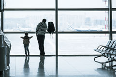 Passenger silhouette in the airport Royalty Free Stock Photography
