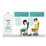 Passenger sitting at window seat and Emergency Door. On Flight Flat Style vector vector illustration