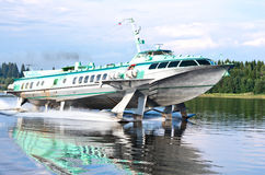 Passenger speedboat hydrofoil on Onego lake, Russia Royalty Free Stock Photography