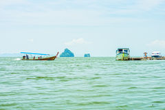 The passenger speedboats for tourist in Phang Nga bay Royalty Free Stock Images