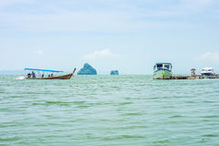 The passenger speedboats for tourist. The speedboats are in Phang Nga bay, Southern Thailand Stock Photos