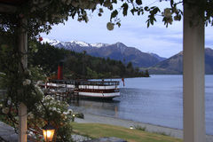 Passenger Steamer at Wharf, Lake Wakatipu Stock Photo