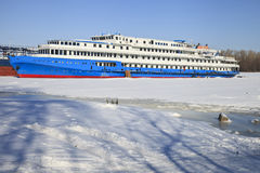 The passenger steamship on winter parking Royalty Free Stock Photos