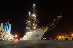 Passenger tall ship moored at the port Odessa Stock Photo
