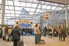 At the passenger terminal Silja Line. Turku. Turku. Finland. Passengers waiting to board a ferry to Stockholm Stock Images