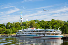 Passenger tourist ship standing at the pier on island of Valaam Royalty Free Stock Photos
