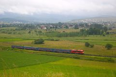 Passenger train. In Hungary between Hatvan and Salgotarjan, hauled by an M41 locomotive Royalty Free Stock Photography