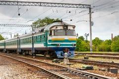 Passenger train. A colorful passenger train on rails stock photos
