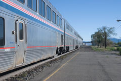 Passenger train. Stopped by platform in Nevada stock photos