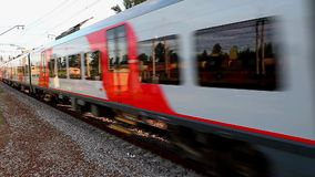 Passenger train. Motion train side view. Tripod. close to.   Loop stock footage