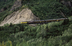 Passenger train. In mountain landscape stock photography
