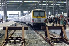 Passenger Train Arrived At The Station In Ostend. Rails, Trains, Tourists On A Hot Sunny Day. Royalty Free Stock Images