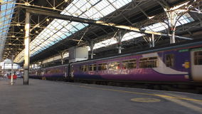 Passenger train arrived at Preston rail station stock footage