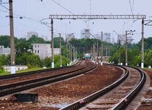 Passenger train arriving on station. An electric train Royalty Free Stock Photography
