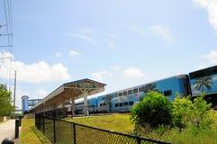 Passenger train arriving station, Florida Stock Image