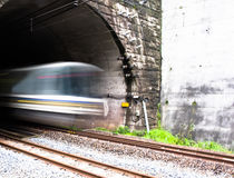 Passenger train blur in tunnel Stock Image