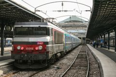 Passenger Train Corail intercites ready for departure in Paris Gare de l`Est train station, belonging to SNCF company seen in fro. NPicture of a passenger train royalty free stock images