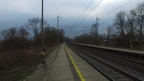 Passenger train departures from the station stock footage