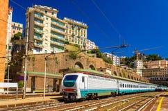 Passenger train at Genova Piazza Principe railway station Royalty Free Stock Photos