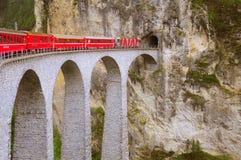 Passenger train goes from Chur to St. Moritz. Royalty Free Stock Photos