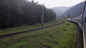 Passenger train goes to Carpathians stock video footage