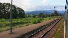 Passenger train goes to Carpathians stock footage