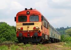 Passenger train in Hungary. Diesel traction local passenger train heading to Hatvan, Hungary Stock Photo