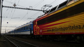Passenger Train 4K. Passenger train is approaching the station. Audio is included stock video