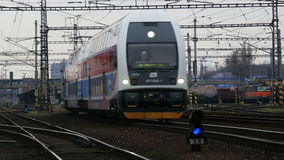 Passenger Train 4K. Passenger train is leaving the station. Audio is included stock video