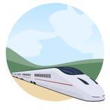 Passenger train through the landscape Stock Photos