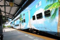 Passenger train leaving station, FL Royalty Free Stock Photos