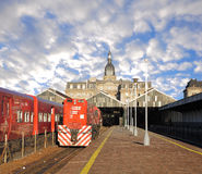 Passenger train. Passenger train and locomotive stand at Retiro station on April 14, 2013 in Buenos Aires, Argentina Stock Photo