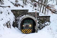 Passenger train, mountain rail. Hungarian forest railway at wint. Er. 02-18-2018 Stock Images