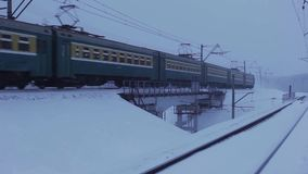 Passenger Train in movement on the bridge. Full HD Resolution 1920×1080 Video Frame Rate 29.97 Length 0:18 stock footage