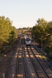 Passenger Train Moving Between Trees Royalty Free Stock Image