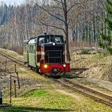 Passenger train on old narrow-gauge railway. Royalty Free Stock Photos