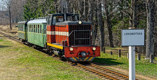 Passenger train on old narrow-gauge railway. Stock Photos