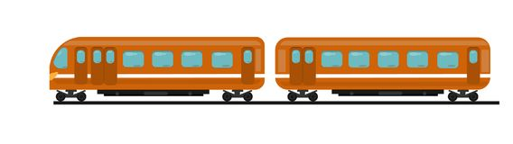 Passenger train of orange color from two cars on rails Stock Photos