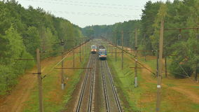 Passenger train passes by the camera stock footage